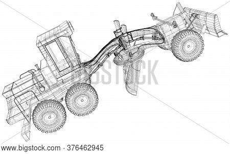 Vector Wire-frame Road Grader. The Layers Of Visible And Invisible Lines Are Separated. Eps10 Format