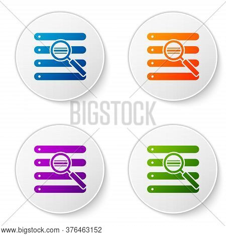 Color Search In A Browser Window Icon Isolated On White Background. Set Icons In Circle Buttons. Vec