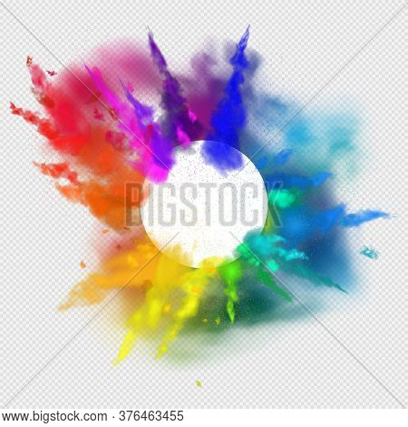 Rainbow Colors Paint Powder And Drops. Holi Festival Invitation. Transparent Different Clouds Of Pai