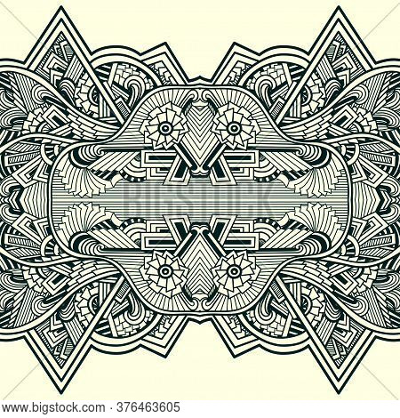 Seamless Pattern  In Zen Tangle Zen Doodle Style White Black  Indian Arabic Eastern  Style White And