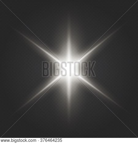 Light Flare Special Effect With Rays Of Light And Magic Sparkles.  Transparent Shining Sun, Bright F