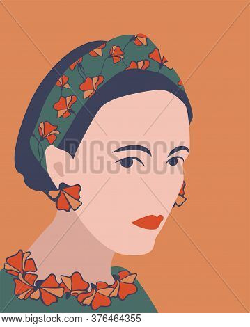 Attractive Woman Vector Portrait. Lady Wearing Hair Band And Earrings With Flower Design.
