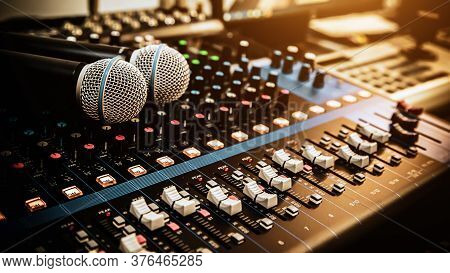 Microphone With Sound Mixer In Studio Workplace For Live The Media And Sound Recording Equipment And