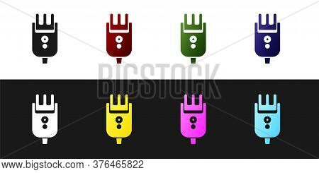 Set Electrical Hair Clipper Or Shaver Icon Isolated On Black And White Background. Barbershop Symbol