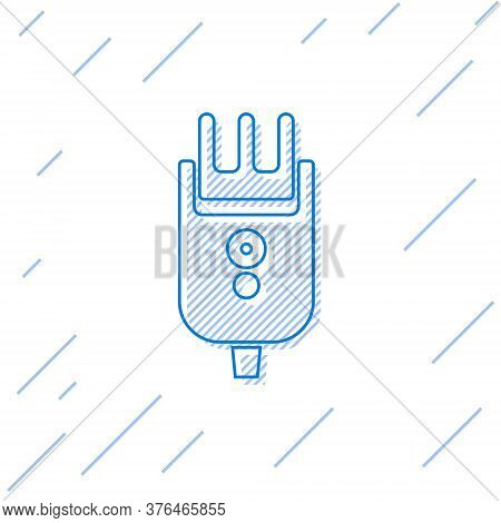 Blue Line Electrical Hair Clipper Or Shaver Icon Isolated On White Background. Barbershop Symbol. Ve