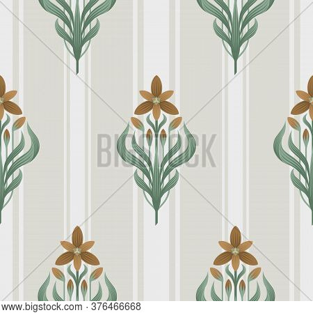 Seamless Floral Ornament In Art Deco Style. Ornithogalum Umbellatum, The Garden Star-of-bethlehem, G