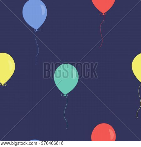 Vector Seamless Pattern With Colorful Balloons On Violet Background. For Fabric, Textile, Linen, Gif