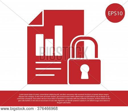 Red Document And Lock Icon Isolated On White Background. File Format And Padlock. Security, Safety,