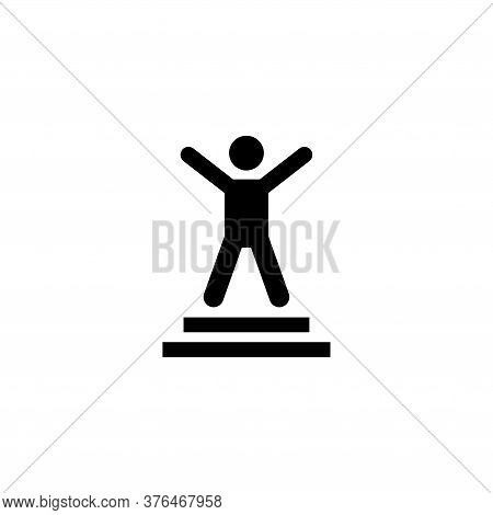Winner Businessman With Hands Raised Up. Flat Vector Icon Illustration. Simple Black Symbol On White