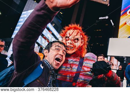 31 November 2017. New York City Streets. Usa. Halloween Parade Filled Times Square With Costumes And
