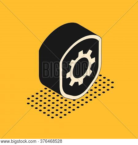 Isometric Shield With Settings Gear Icon Isolated On Yellow Background. Adjusting, Service, Maintena