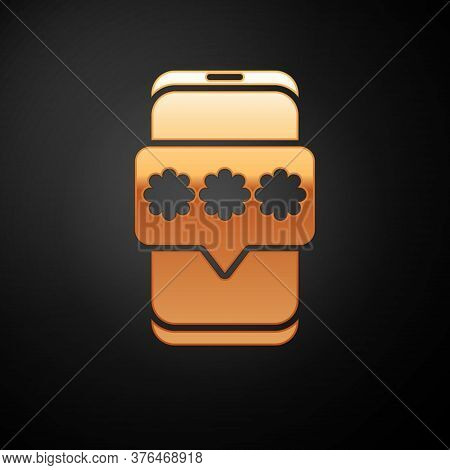Gold Mobile And Password Protection Icon Isolated On Black Background. Security, Safety, Personal Ac