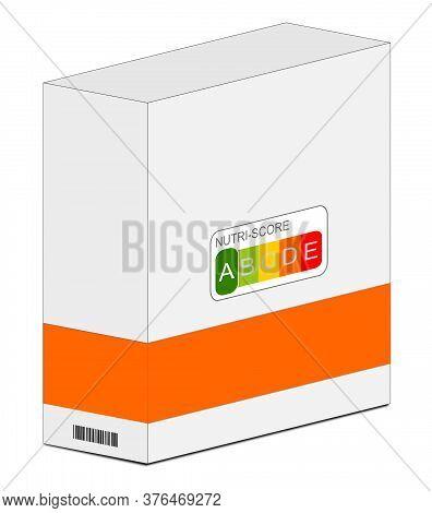 Nutri-score Label A On A Carton Orange, 5-colour Nutrition Label - 3d Illustration