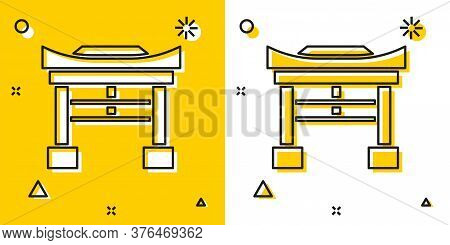 Black Japan Gate Icon Isolated On Yellow And White Background. Torii Gate Sign. Japanese Traditional