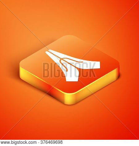 Isometric Hands In Praying Position Icon Isolated On Orange Background. Prayer To God With Faith And