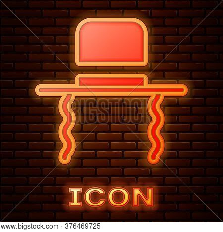 Glowing Neon Orthodox Jewish Hat With Sidelocks Icon Isolated On Brick Wall Background. Jewish Men I