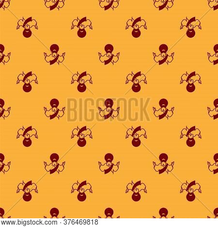 Red Jesus Christ Icon Isolated Seamless Pattern On Brown Background. Vector Illustration