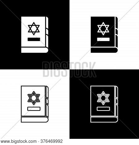 Set Jewish Torah Book Icon Isolated On Black And White Background. On The Cover Of The Bible Is The