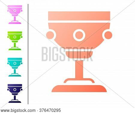 Coral Christian Chalice Icon Isolated On White Background. Christianity Icon. Happy Easter. Set Colo