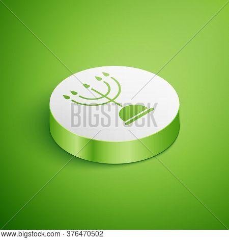 Isometric Hanukkah Menorah Icon Isolated On Green Background. Hanukkah Traditional Symbol. Holiday R