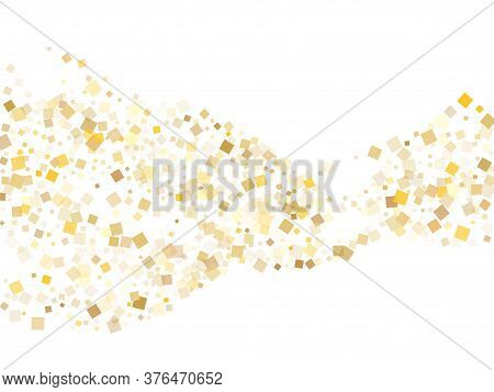 Glowing Gold Square Confetti Sparkles Flying On White. Rich Holiday Vector Sequins Background. Gold