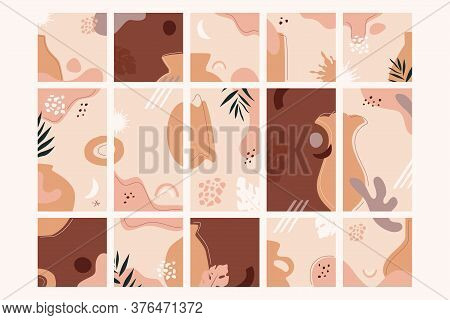 Floristic Fantasy Abstract Backgrounds In Square And Vertical Aspect Ratio. Pink And Terracotta Shad