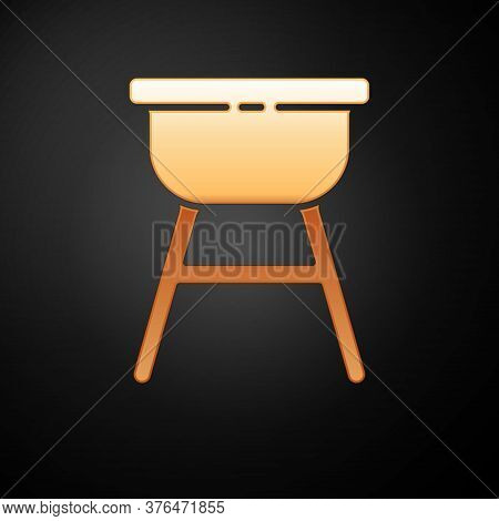 Gold Barbecue Grill Icon Isolated On Black Background. Bbq Grill Party. Vector Illustration