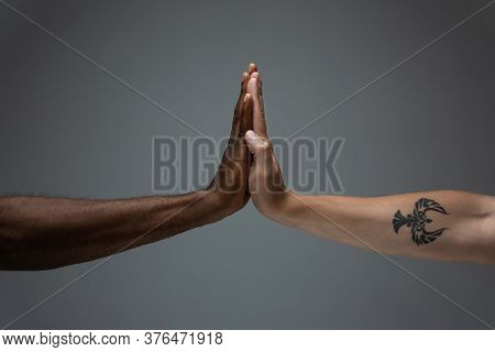 Greeting Clapping. Racial Tolerance. Respect Social Unity. African And Caucasian Hands Gesturing On