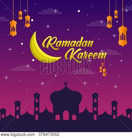 Vector Illustration,banner Or Poster Of Islamic Holiday Ramadan Kareem. Islamic Holiday Ramadan Kare