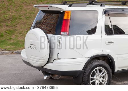 Novosibirsk, Russia - 07.07.20: Rear View Of A White Japanese Suv Of The Honda Sr-v Brand With A Spa