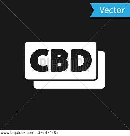 White Cannabis Molecule Icon Isolated On Black Background. Cannabidiol Molecular Structures, Thc And