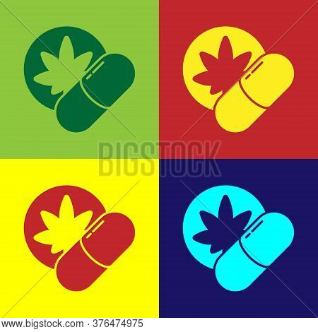 Pop Art Herbal Ecstasy Tablets Icon Isolated On Color Background. Vector Illustration