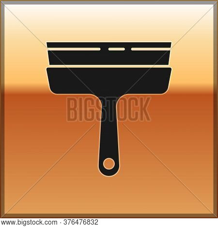 Black Cleaning Service With Of Rubber Cleaner For Windows Icon Isolated On Gold Background. Squeegee