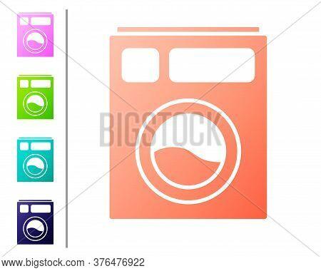 Coral Washer Icon Isolated On White Background. Washing Machine Icon. Clothes Washer - Laundry Machi