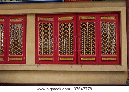 The Red Window With Gold Texture In Chinese Style.