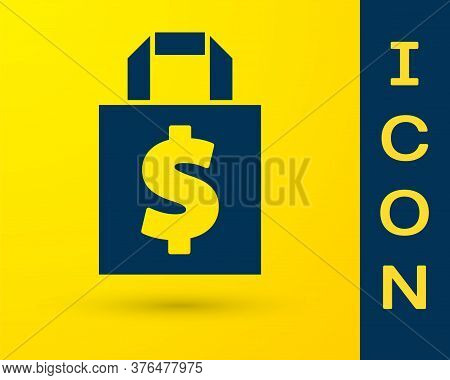 Blue Shoping Bag And Dollar Symbol Icon Isolated On Yellow Background. Handbag Sign. Woman Bag Icon.