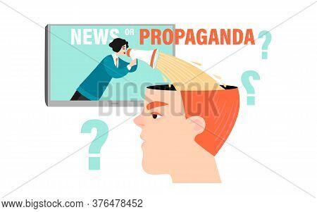 How The Media Control Public Opinion. News Or Propaganda. Conceptual Vector Image With A Huge Head A