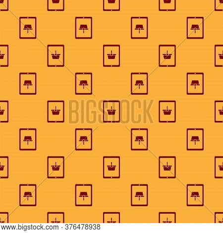 Red Shopping Basket On Screen Tablet Icon Isolated Seamless Pattern On Brown Background. Concept E-c