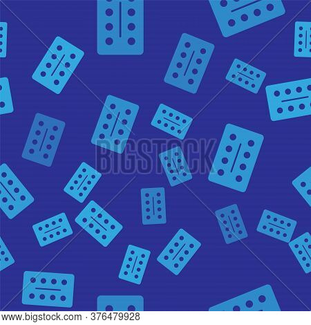 Blue Pills In Blister Pack Icon Isolated Seamless Pattern On Blue Background. Medical Drug Package F