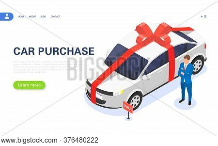 Sale Of A New Car In A Dealership. Special Car Loan Offer. Win A Car In The Lottery. The Dealer Is S
