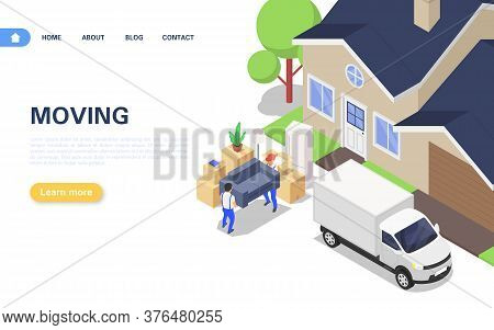 Home Moving Web Banner Concept. Unloading A Truck Packed With Corton Boxes With Various Household It