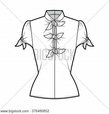 Knotted Cutout Blouse Technical Fashion Illustration With High Neckline, Puffed Volume Sleeves, Back