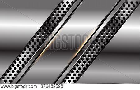 Abstract Silver Black Line Slash On Circle Mesh Design Modern Luxury Futuristic Background Vector Il
