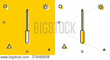 Black Knife Sharpener Icon Isolated On Yellow And White Background. Random Dynamic Shapes. Vector Il