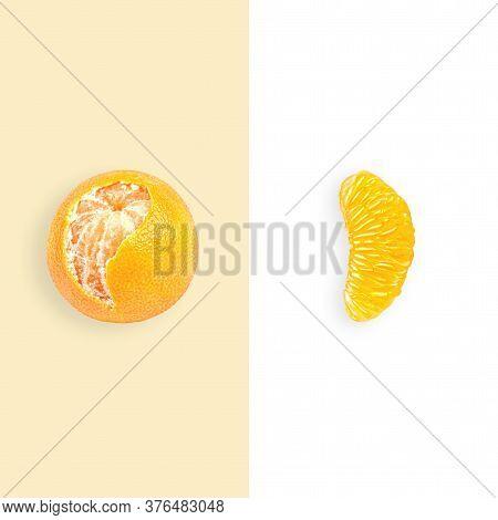 Layout Of Mandarin. Creative Food Concept. Flat Lay. Top View