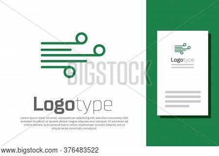 Green Line Wind Icon Isolated On White Background. Windy Weather. Logo Design Template Element. Vect