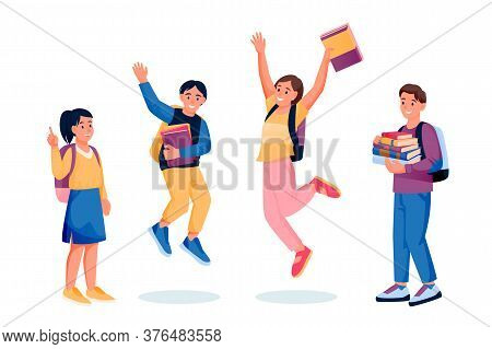 Jumping Dancing Happy Kids With Books And Backpacks. Back To School And Education Design Elements. V