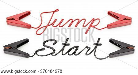 Jumper Cables With Text Shape On White Background - 3d Illustration