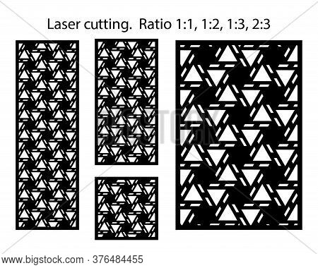 Laser Pattern. Set Of Decorative Vector Panels, Screens For Laser Cutting. Templates For Cnc. Kit, B