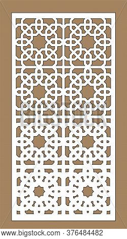Decorative Vector Panel For Cnc Cut. Laser Cutting. Art Gradient Sheet. Template For Interior Partit